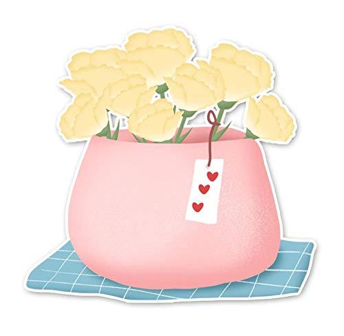 Wandtattoos Wandbilder(2 Teile/Satz) Rosa Vase Nelke Bouquet Blumen Auto Aufkleber Zubehör Pvc Fahrzeug Dekoration Aufkleber Auto Aufkleber 12.5 X 11.9 Cm