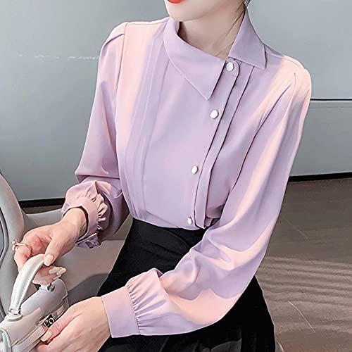 GYZCZX Camisa de Gasa Rosa Ropa Casual Mujeres Tops de Gasa Elegante Mujer de Manga Larga Femenina Blusa de Gasa (Color : Pink, Size : L Code)