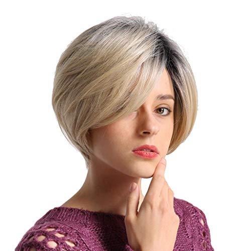 Perücken Für Frauen Kurzhaarperücken Echthaar Glatte Perücken Seitenteil Vollperücken & Perückenmütze Für Schwarze Oder Weiße Frauen Damen Mädchen