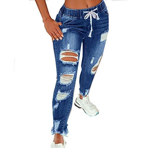 High Waist Ripped Jeans Damen Jeanshosen Damen Löcher Skinny Jeans Hose Damen Zerrissene Destroyed Denim Jeans Relaxed Damen Stretch Slim Fit Gerissene Kaputte Hose Jeans Leggings Frauen Große Größe