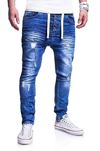 MT Styles Jogg-Jeans Buttons Hose RJ-289 [Blau, W32]