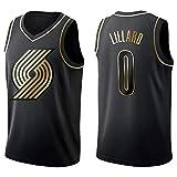 Camiseta de Baloncesto para Hombre, NBA, Portland Trail Blazers #0 Damian Lillard, #00 Carmelo Anthony. Bordado, Transpirable y Resistente al Desgaste Camiseta para Fan (Golden edition Lillard, L)