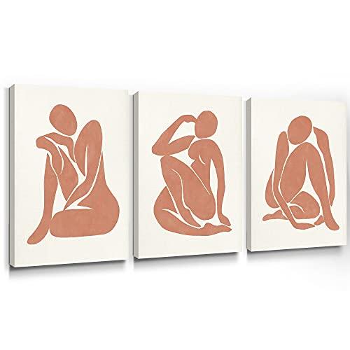 SUMGAR Cuadros en Lienzo Matisse Boho Movimientos de Yoga Mid-Century de Decoración Hogar Cuerpo de Mujer Minimalista Neutral para Dormitorios Baño Cocina Sala de Estar - 30 x 40 cm 3 Piezas