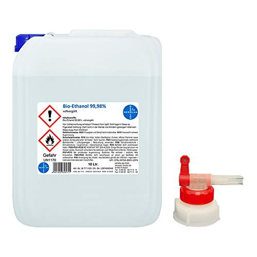 Kamin-Ethanol 99,98% Alkohol-Gehalt, wasserfrei I 10 Liter I Bioethanol I inkl. 1 x AGH I HERRLAN-Qualität I Made in Germany