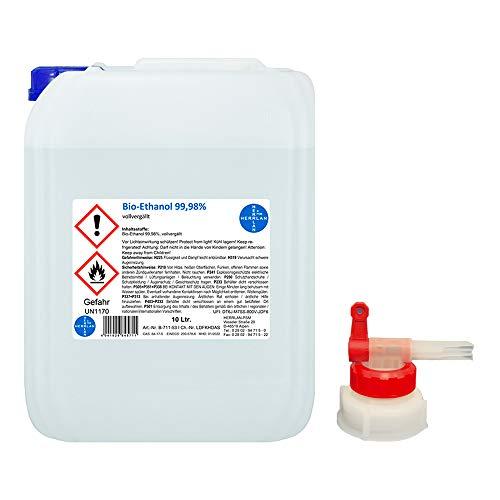 Kamin-Ethanol, 99,98% Alkohol-Gehalt I 10 Liter I Bioethanol I inkl. 1 x AGH I HERRLAN-Qualität I Made in Germany