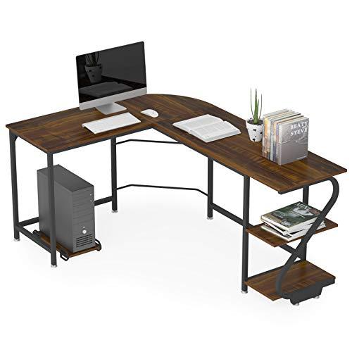 WeeHom Reversible L Shaped Desk with Shelves Modern Corner Gaming Computer Desks for Home Office, Wood & Metal