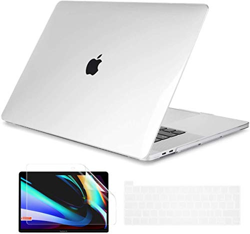Dongke Case for Newest Macbook Pro 16 with Keyboard Cover + Screen Protector Crystal Hard Shell Case for Macbook Pro 16 with Touch Bar & Touch ID Model A2141 (2020 2019 Released) Clear