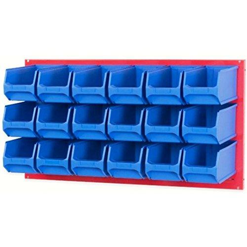 Systemplatte rot 100x50cm & 18 Sichtlagerbox Sichtlagerkasten Sichtlagerkiste Lagersichtbox Lagersichtkasten Lagersichtkiste 235 x 145 x 125mm blau