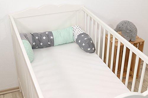 Baby Nestschlange | Made in EU | ÖkoTex 100 | Schadstoffgeprüft | Antiallergisch | Baby Bettumrandung | Bettschlange | Mint Grau | 120 x 13 cm | ULLENBOOM ®