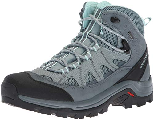Salomon Women's Authentic Leather GORE-TEX Backpacking Boots, Lead/Stormy Weather/Eggshell Blue, 8 B US