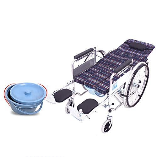 LOO LA Faltrollstuhl Mobiclinic Rollstuhl Sanitätshaus Faltbar Reiserollstuhl Sitzhöhe: 51 cm Vollgummireifen Breite: 64 cm,Plaid
