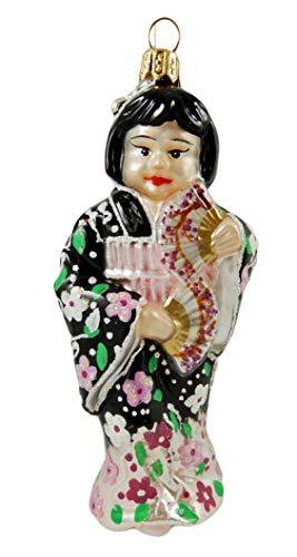 Japanese Japan Girl Geisha Polish Glass Christmas Tree Ornament Souvenir Decoration