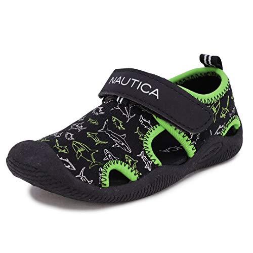 Nautica Kids Kettle Gulf Protective Water Shoe,Closed-Toe Sport Sandal-Black Lime Sharks-12