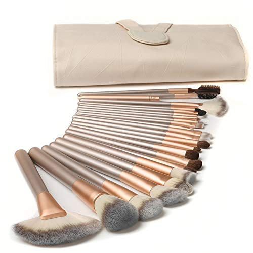 Make up Pinsel, 24 teilige Make up Pinsel-Sets, Premium Lidschattenpinsel aus synthetischem Material, geeignet für Anfänger und professionelle Maskenbildner mit PU Ledertasche Beige