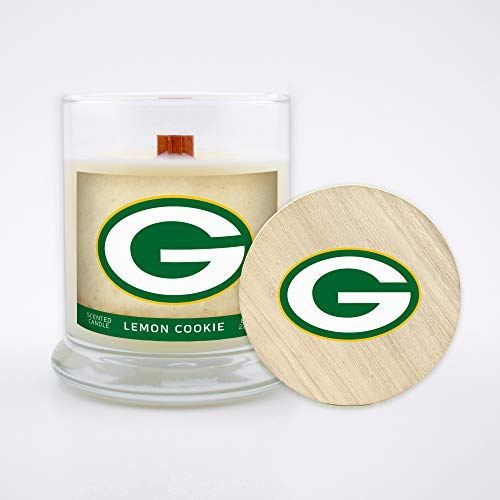 Worthy Promo NFL Green Bay Packers Gifts 8oz Scented Candle Soy Wax w/Wood Wick and Lid, Lemon Cookie