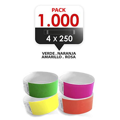 MP-Pack 1000 Pulseras tyvek para eventos 19mm colores flour