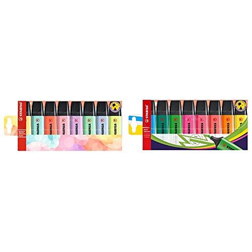 Stabilo Marcador original pastel estuche con 8 colores pastel + Marcador fluorescente BOSS ORIGINAL Estuche con 8 colores