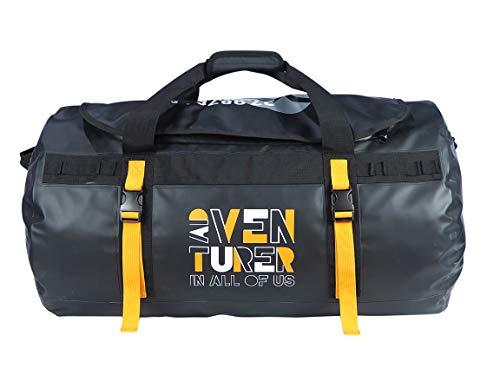 Discovery Adventures - Borsone impermeabile da viaggio in PVC 65L 500D da viaggio per il week-end per palestra sport kit uomo e donna (capacità: 64 x 36 x 36 cm) (nero)