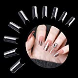 Buqikma 500 Pcs C Curve False Nail Tips Acrylic Fake Nails Artificial Press on Nails for Salon With Bag
