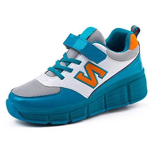 Aupast Zapatos Unisex con Ruedas Individuales Entrenador retráctil con LED Zapatos de Patinaje sobre Ruedas para niños, niñas, niños, Zapatillas de Deporte al Aire Libre, Zapatillas de Deporte, Zap