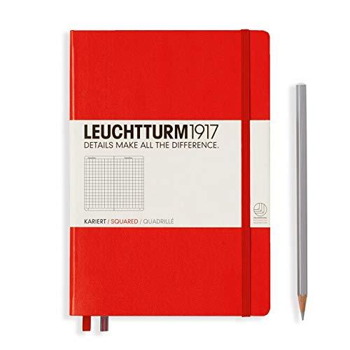 Leuchtturm 312564 - Cuaderno mediano A5 con tapa dura, 249 páginas numeradas, 145x210mm, Color rojo