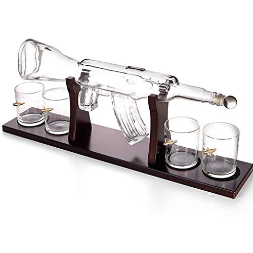 WANGIRL Sweet 800ml Gun Decantador de Vino Grande y Conjunto de Aire, Base de Madera, Jarra de Whisky de Rifle con 4 Gafas de Whisky de Bala LOLDF1