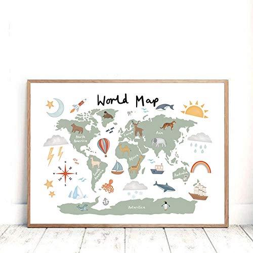 N/A Hauptdekorationsmalerei Bilder Tierweltkarte Kunstdrucke Poster Kinderzimmer Dekor Aquarellkarte Mit Tier Leinwand Malerei Für Kinderzimmer Wandkunst Wanddeko Geburtstagsgeschenk