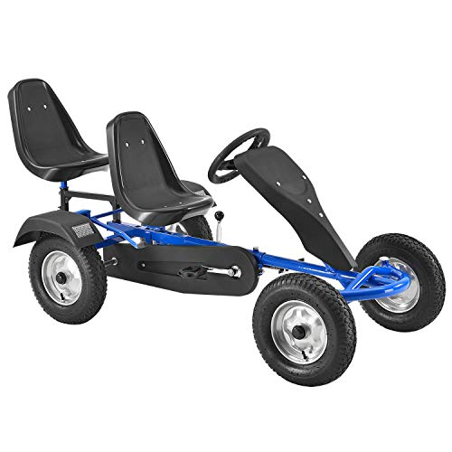 ArtSport 2-Sitzer Gokart mit Schalensitz, Luftreifen, Stahl-Felgen & Freilauf – Tretauto Kinderfahrzeug – Kinder Spielzeug ab 4 Jahre - blau