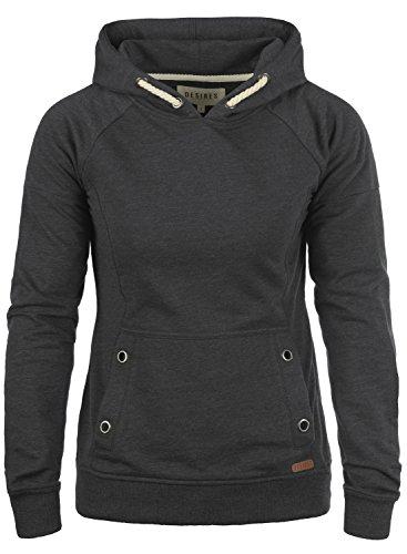 DESIRES Sandy Damen Damen Hoodie Kapuzenpullover Pullover Mit Kapuze, Größe:S, Farbe:Dark Grey Melange (8288)