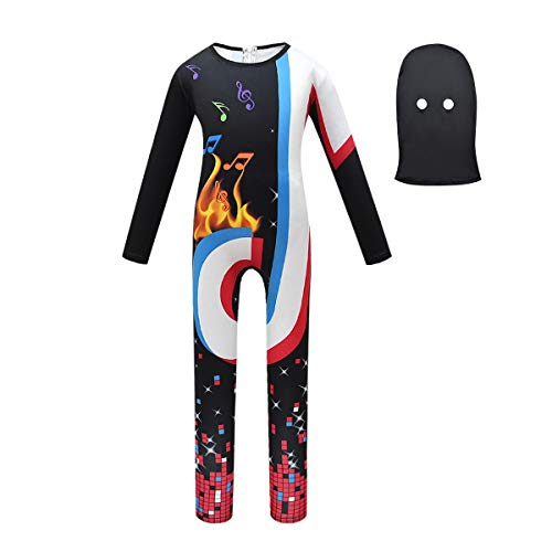 DJ Cosplay Jumpsuit, Ninja Deluxe Costumes Music Fans Bodysuit with Hood Mask Helmet Theme Musical Notes Long Sleeve Coverall Pajamas Game Boy Girl Kids Halloween(Black/2Pcs Sets,130,4-5T)
