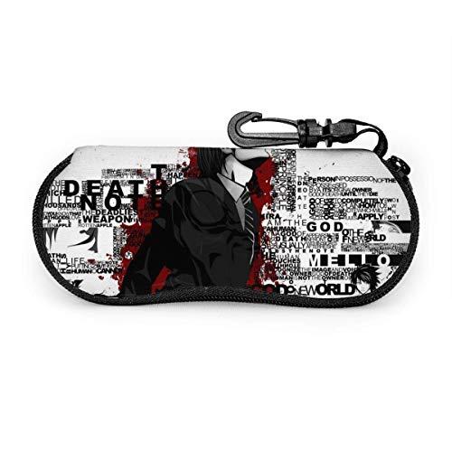 Anime Death Note Custodia per occhiali Occhiali da sole Custodia morbida Custodia per occhiali con cerniera in neoprene ultra leggera con clip per cintura Custodia per occhiali multifunzione