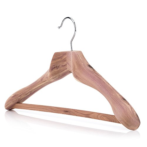 HANGERWORLD 197 inch Luxury Strong Cedar Wood Clothes Coat Garment Hanger with Non Slip Trouser Skirt Bar