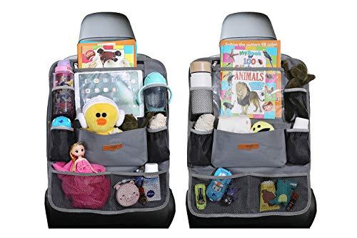 Autositz-Organizer – SURDOCA 4th Generation verbesserter Auto-Organizer Rücksitz für bis zu 10,5 iPad, 9 Taschen, Kinderspielzeug-Aufbewahrung, wasserdichter Rücksitzschutz für Kinder, Grau,2 Stück