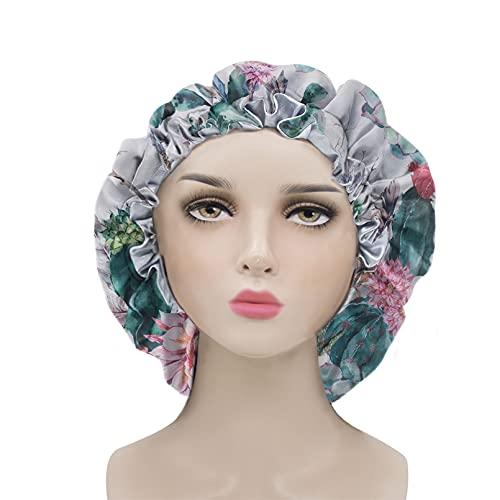 Renewold Satijnen slaappet, slouchy slaapmuts, muts muts voor dames, verstelbare elastische band, haarbedekkingen, hoed, slaap, krullend haar, duurzaam, tropisch cactus bloem