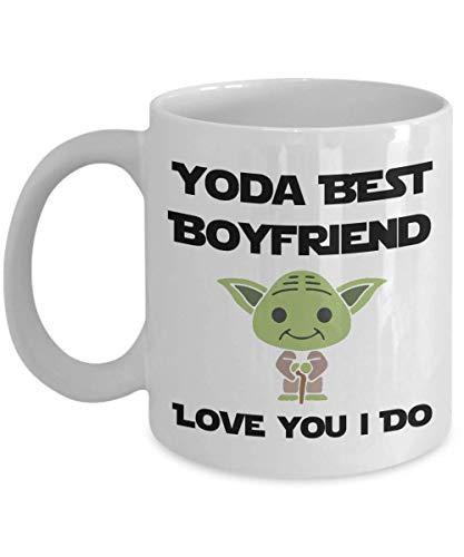 Yoda - Taza con texto en inglés 'I Love You Boyfriend', regalo de cumpleaños para el mejor novio