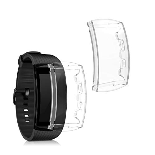 kwmobile Set 2X Compatibile con Samsung Gear Fit 2 PRO Cover Protettiva - Custodia Full Body Smartwatch - in Silicone - Trasparente