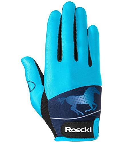 Roeckl Sports Junior Handschuh -Kansas- Kinder Reithandschuh mit Lernhilfe türkis, 5