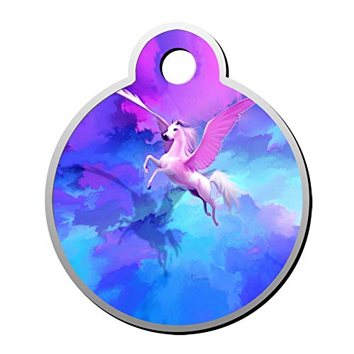 Aanpasbare ronde vorm ID labels, vleugels paard vliegen in kleurrijke hemel gepersonaliseerd dubbelzijdig bedrukte huisdier informatie kraag voor kat hond