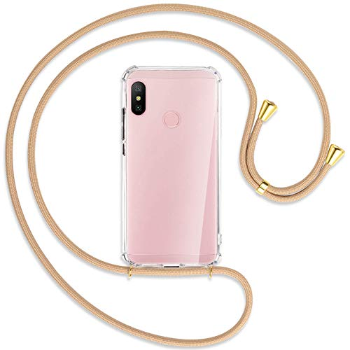 mtb more energy® Collar Smartphone para Xiaomi Redmi Note 6 Pro (6.26'') - Beige/Oro - Funda Protectora ponible - Carcasa Anti Shock con Cuerda