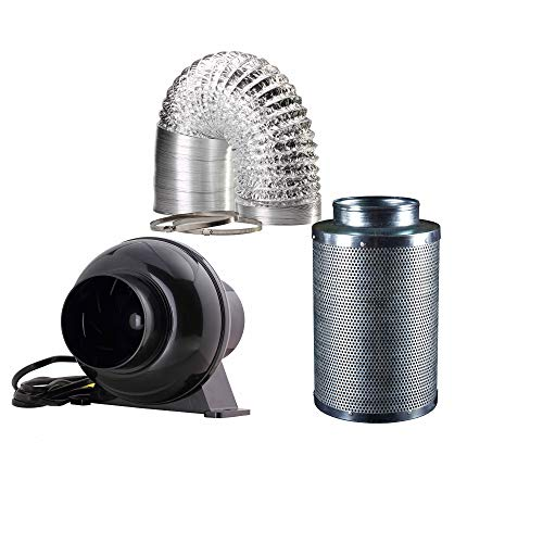 RURAL GROW 4 Inch 200 CFM Inline Duct Fan 4 Inch Carbon Filter and 8 Feet AIR Ducting for Hydroponics Grow Tent