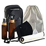 Gypsy Kits Refillable Travel Kit - Amber Glass Spray Bottle (3.4oz) and Pump Hand (2oz) Travel Size Bottles - Washable Face Mask, Reusable Fabric Wipe, TSA-Approved Carry On Bag