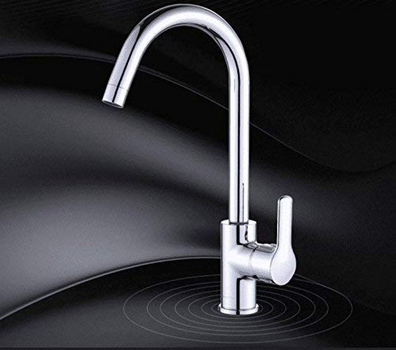 Oudan Kitchen Bath Basin Sink Mischbatterie Wasserhahn Massivem Messing Spüle Wasserhahn warm und kalt Schwenkauslauf Sink Mixer Sink Wasserhahn (Farbe   -, Gre   -)