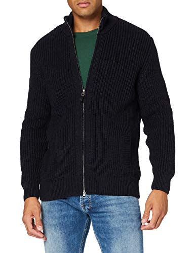 Superdry Mens Zip Through Cardigan Pullover Sweater, Downhill Navy, Large