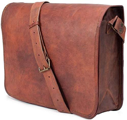Jaald 33 Cm Tracolla in Pelle Valigetta Borsello Sacchetto del Messaggero Borsone a Spalla per Ufficio Vintage Uomo Borsa del portatile leather Laptop briefcase Messenger bag