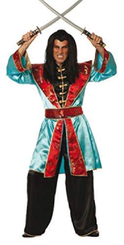 W5641-52-A - Disfraz chino para hombre (talla 52), color turquesa y rojo