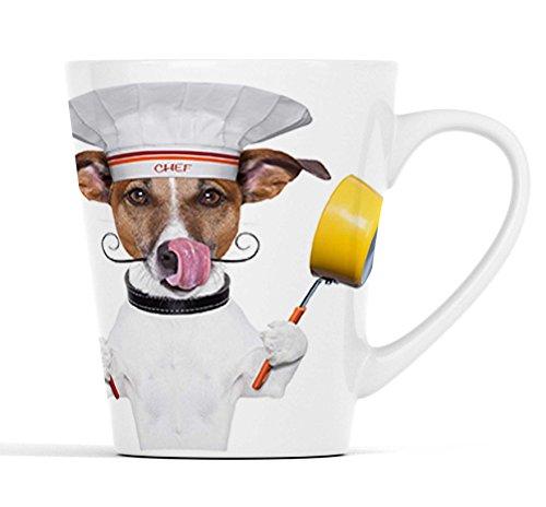 Lustiger Hund als Chefkoch mit Topf und Pfanne  Latte Macchiato Becher Kaffeebecher mit Fotodruck  002