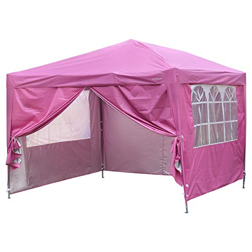 Outdoor Basic 10x10 Pop up Canopy Party Tent Instant Gazebos with 4 Removable Sidewalls Pink