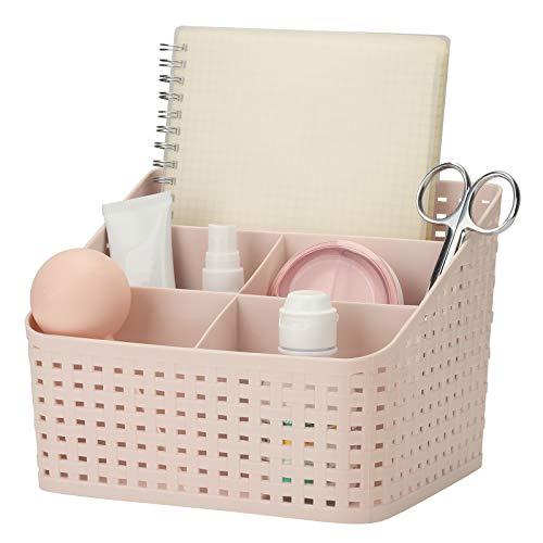 XQK Kosmetik Aufbewahrungshalter, Kunststoff Desktop Organizer Box Multi-Grid Openwork Finish Box Make-up Organizer für Make-up Pinsel Nagellack Lippenstift Ohrschmuck Kommode Schlafzimmer (Rosa)