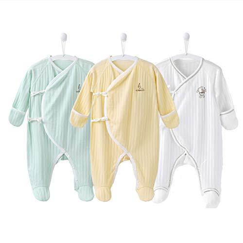 COBROO Pijama unisex con pies para dormir y jugar, 100% algodón para bebé con manoplas integradas de 0 a 3 meses - - recién nacido