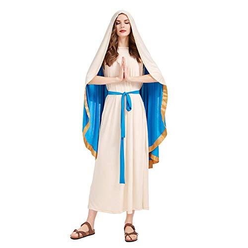 CGBF - Disfraz de Natividad de Virgen María para mujer, disfraz religioso de Navidad, disfraz de Halloween, disfraz de escenario, beige, M